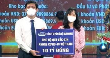 Vinamilk tiếp tục đồng hành với chính phủ, ủng hộ 10 tỷ đồng vào quỹ Vaccine phòng Covid-19
