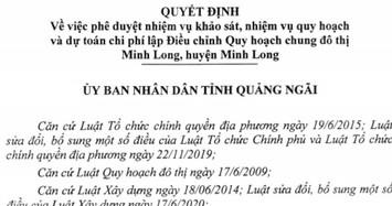 Quảng Ngãi sắp điều chỉnh quy hoạch đô thị Minh Long hơn 1.731ha