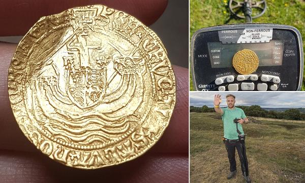 Thợ săn kho báu nghiệp dư vớ bẫm đồng xu vàng 500 tuổi