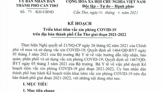 Cần Thơ triển khai kế hoạch tiêm vắc xin phòng COVID-19