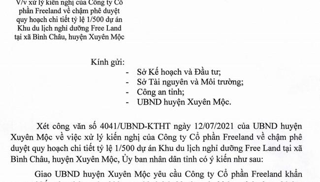 Vì sao dự án của Công ty Free Land ở Bà Rịa - Vũng Tàu chưa được duyệt quy hoạch?