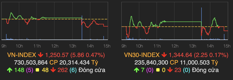 VN-Index giang co va giam 6 diem, VNM bi day xuong moc 90.000 dong
