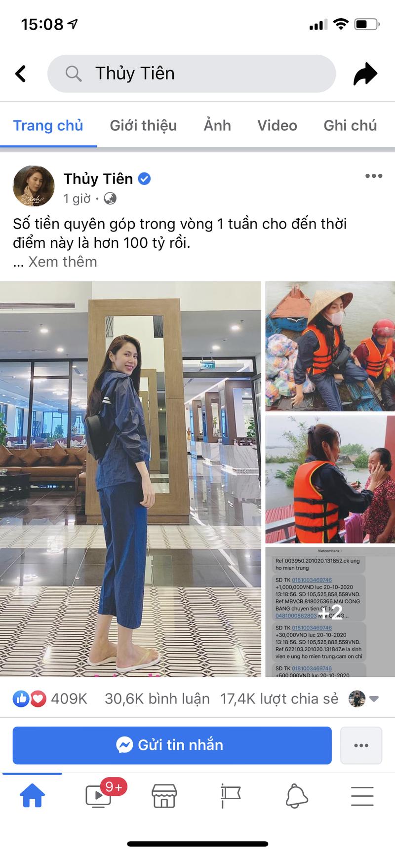 Hinh anh ca si Thuy Tien keu goi duoc 100 ty dong, lao vao lu du cuu tro dong bao