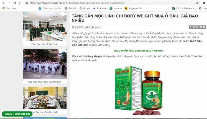 Canh bao san pham Satochi, Moc Linh Chi Body Weight quang cao gay hieu nham-Hinh-2