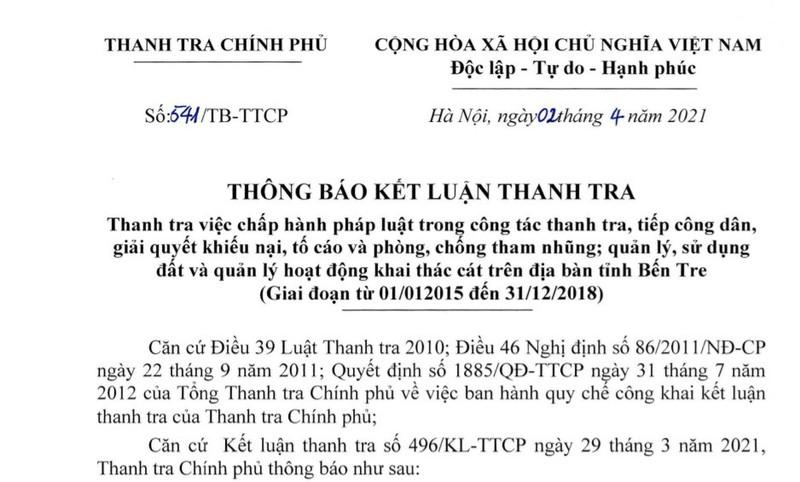 Chu tich Ben Tre giao dat cong cho Giao duc Thanh Thanh Cong nhu the nao ma bi de nghi kiem diem?