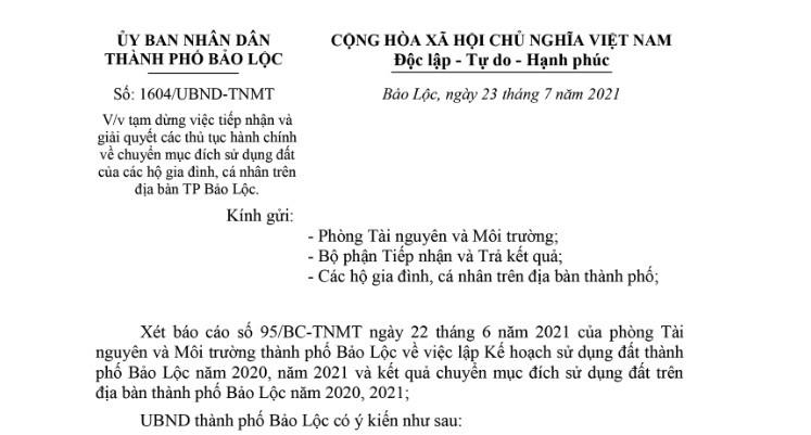 Tam dung thu tuc chuyen muc dich su dung dat tai TP Bao Loc