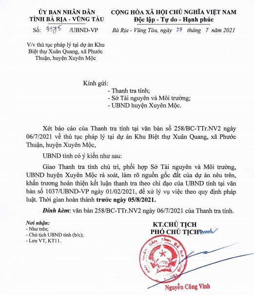 Ba Ria - Vung Tau ra soat nguon goc dat du an Axis Ho Tram