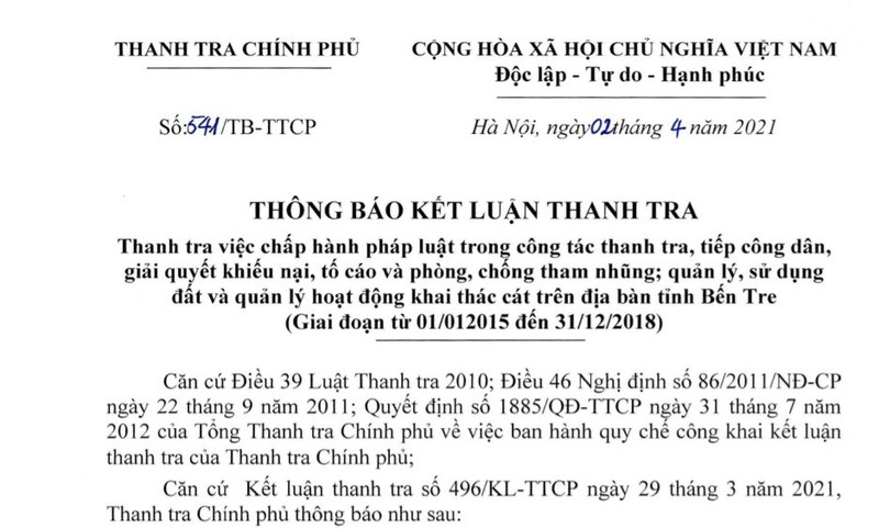 Thanh tra Chinh phu kien nghi dieu tra xu ly hanh vi tron thue cua Cong ty Co phan Vat lieu xay dung Ben Tre